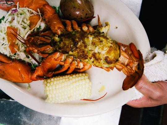 Stuffed lobster at Bum Rogers Crabhouse in Seaside Park.