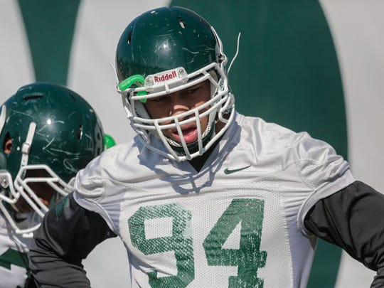 Montez Sweat during a practice at Michigan State.