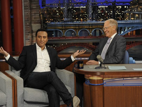 "Author and actor Aasif Mandvi talks about his new series ""Halal in the Family,"" on the Late Show with David Letterman, Thursday April 2, 2015 on the CBS Television Network."