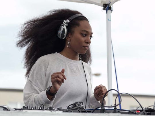 Super Dre performs on the Electronic Stage as part of the Girls Gone Vinyl Showcase during the Dally in the Alley on Saturday, September 12, 2015 in Detroit.