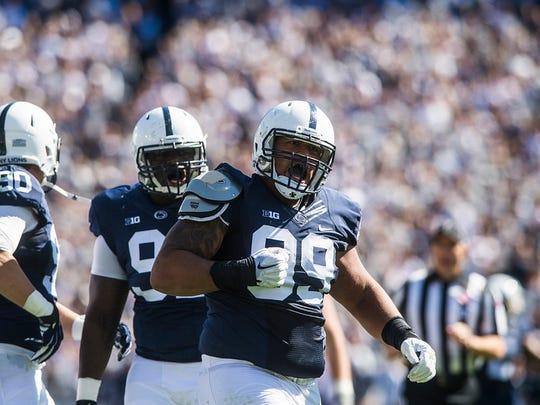 Penn State's Austin Johnson celebrates a tackle against