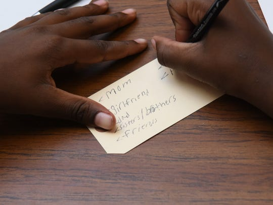 As part of the presentation, young men were asked to write down the names of people who would grieve for them, if they were victims of gun violence.