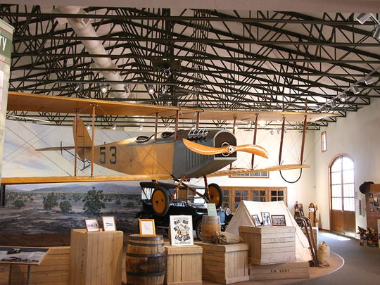 """A flying Jenny hangs above the Pancho Vllla State Park Exhibition Hall in Columbus, New Mexico. The Jenny's were first used by the U.S. Army 1st Aero Squadron during the Punitive Expedition in the hunt for Mexican General Francisco """"Pancho"""" Villa."""