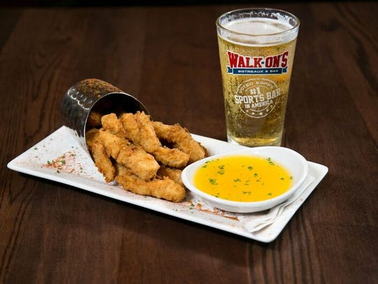 Walk-On's offers Mahi fries with mango dipping sauce