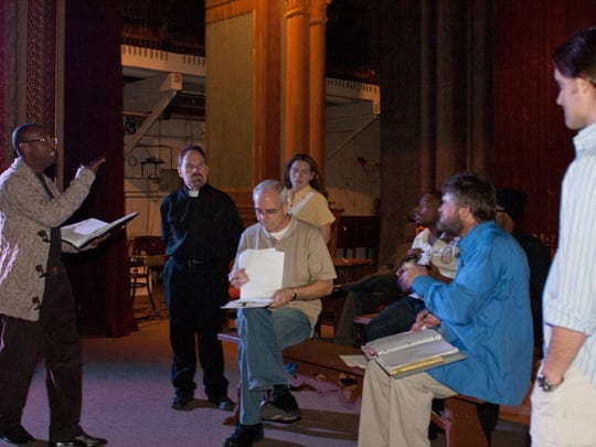 """The cast of """"The Maker"""" rehearsal led by director Vincent"""