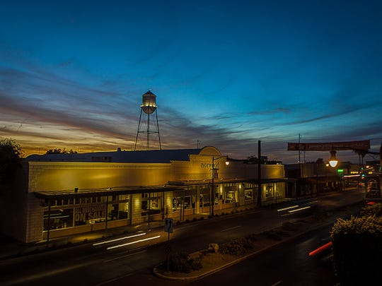 Downtown Gilbert at sunset with the iconic water tower