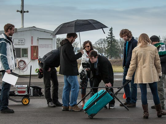 "A crew works on filming a scene for a proof-of-concept trailer for the upcoming film ""Meltdown"" about the aftermath of the Three Mile Island accident."