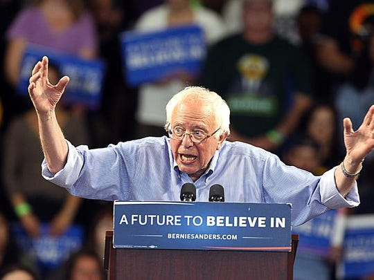 Democratic presidential candidate Bernie Sanders, I-Vt., speaks during a rally in Santa Cruz, Calif.