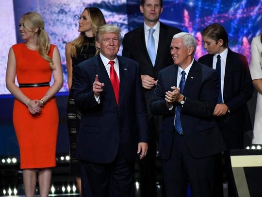 Donald Trump , Mike Pence and their families acknowledge
