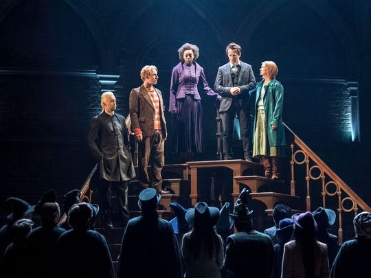 All grown up: Left to right, Draco Malfoy (Alex Price), Ron Weasley (Paul Thornley), Hermione Granger (Noma Dumezweni), Harry Potter (Jamie Parker) and Ginny Potter (Poppy Miller) in 'Harry Potter and the Cursed Child.'