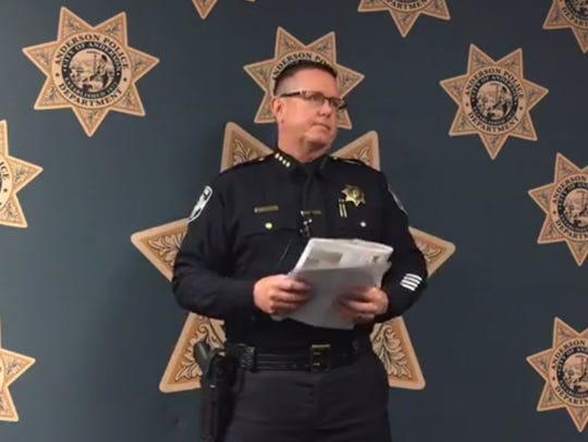 In March 2017, Anderson Police Chief Michael Johnson talks with the media.