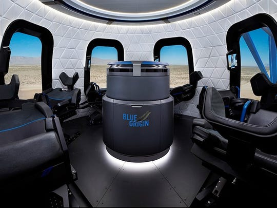The interior of Blue Origin's suborbital New Shepard capsule, which could begin test flights with people next year.