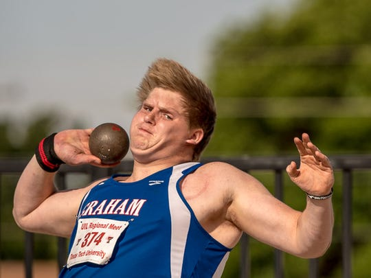 Graham's Hunter Dooley won the Region I-4A shot put on Friday with a 53-3.