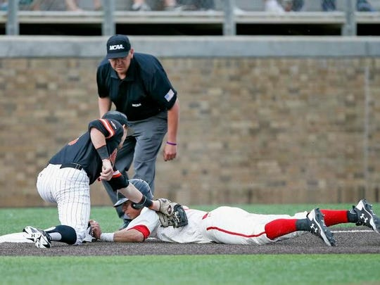 Texas Tech's Orlando Garcia can't hold onto the ball as Sam Houston State's Riley McKnight slides in safe at second during the Bearkats' 4-3 win on Monday.