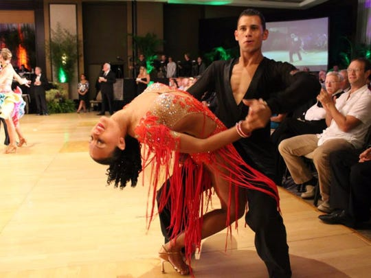 National and World champion dancers such as Vicente Martinez and Megan Murphy (pictured) will perform at the Peace, Love & Ballroom event Saturday at  the Marriott Resort, Hutchinson Island in Stuart.