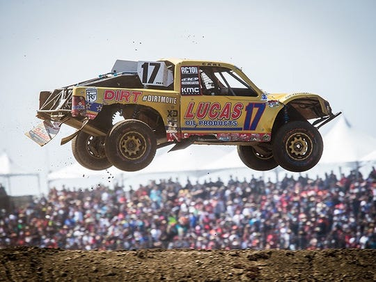 Carl Renezeder soars through the air in the No. 17