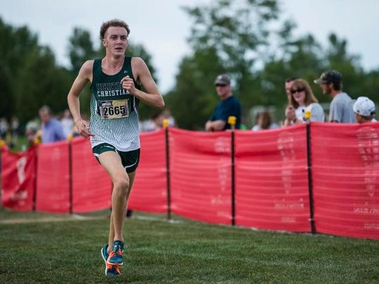 Heritage Christian High School runner Keaton Case finished second in the boys Division 2 race to to help Heritage win the team title at Friday's John Martin Invitational at Fort Collins High School.
