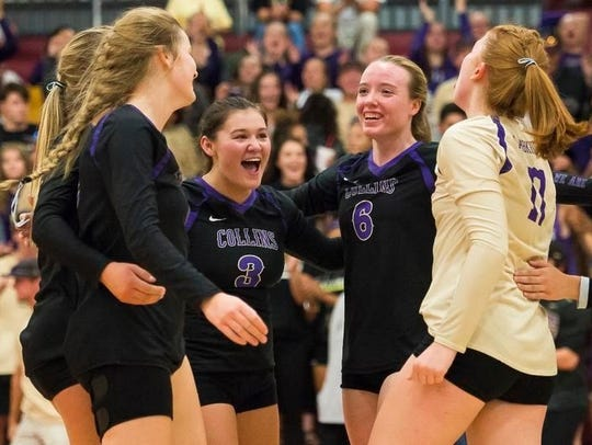 The Fort Collins High School volleyball team celebrates a win over Rocky Mountain last season.