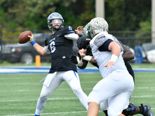 Faulkner junior Clayton Nicholas has completed 68.7 percent (145-of-211) of his passes for 1,728 yards, 21 touchdowns and seven interceptions this season.