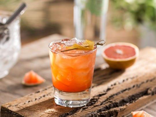 Cocktail: Grapefruit Negroni (Prairie Organic gin, housemade red grapefruit shrub and Campari)