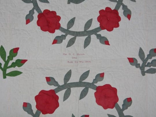 Block applique quilt made by Mary Slocum in 1858 for