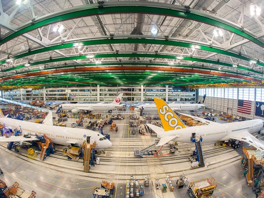 boeing 787 aircraft in various stages of final assembly
