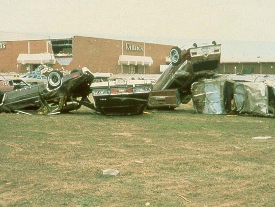 Cars were overturned at Sikes Senter Mall by tornadoes
