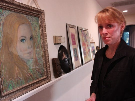 Morgan Harrington's mother, Gil, with a self-portrait