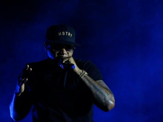 Nas performs in downtown Des Moines in 2016. The rapper's