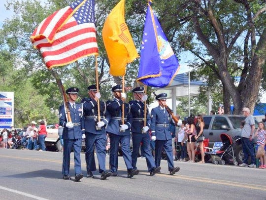 The color guard led the parade.