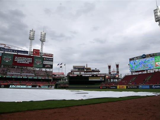 The tarp never left the Great American Ball Park infield
