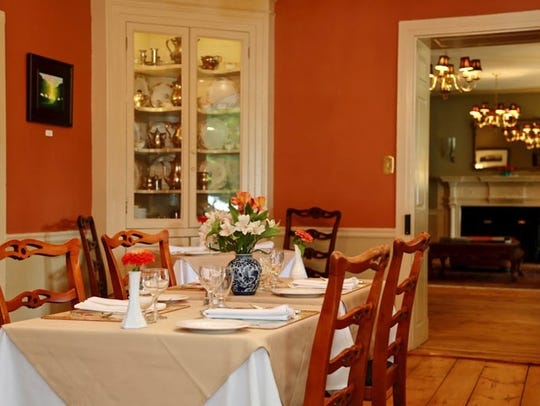 Inside the dining room at the Woolverton Inn.