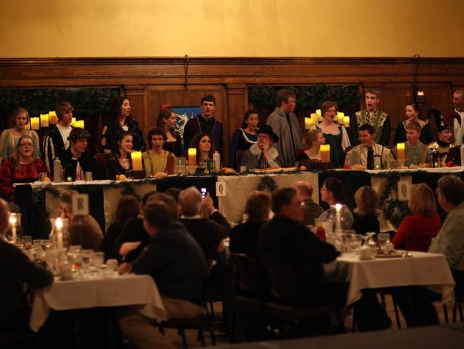 The head table at the 2011 ISU Madrigal Dinner featured the Iowa State Singers and Don Simonson, center, who portrayed King James I. The annual event will be held on Jan. 17 and 18. Tickets are $40 per person.