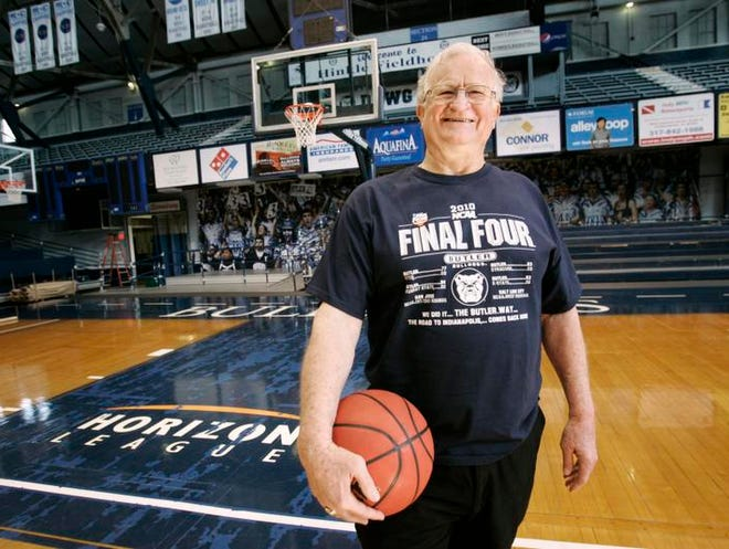 Bobby Plump stands in the same spot, Thursday, April 2, 2010, where he made his famous final game-winning shot for the Milan High School state championship in 1954 at Hinkle Fieldhouse.