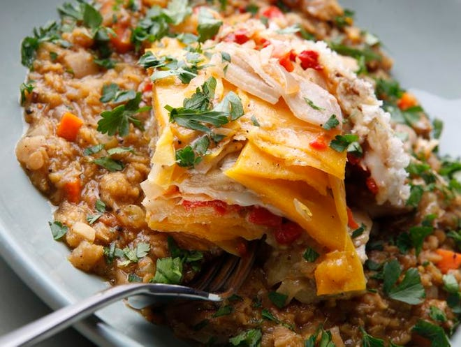 North End's eggplant and spicy lentils December 5th,  2012