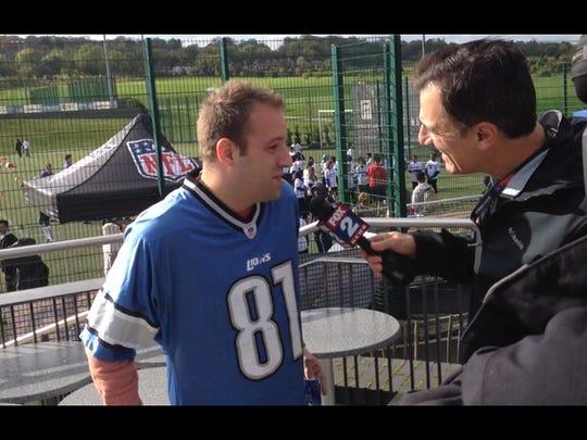 Adam Meller, a Lions fan, at the Play 60 event.