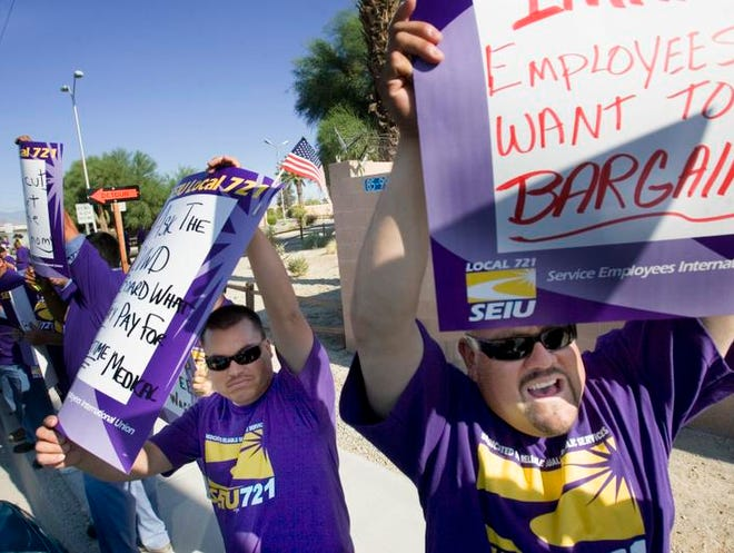 Coachella Valley Water District employees represented by the SEIU Local 721 are currently renegotiating a contract. In 2011, when management wanted cost-saving concessions from workers that included contributions to their pension plans, workers rallied  outside of the agency's office.