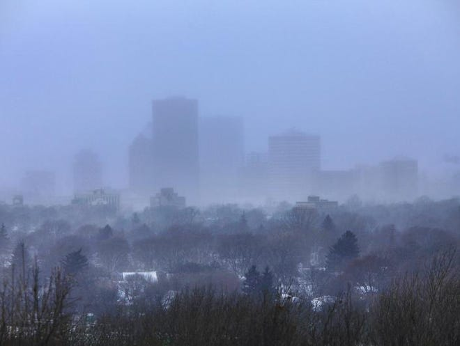 Rochester was covered in blowing snow late in the afternoon on Tuesday.