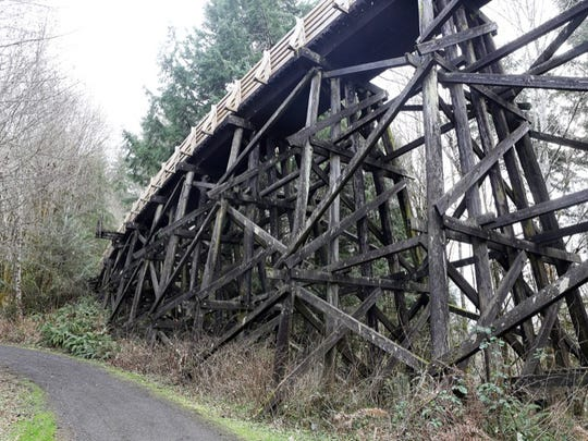 The Buxton Trestle. The Banks-Vernonia Trail, where a branch line of the Spokane-Portland-Seattle Railroad line used to run, stretches for 21 miles through Washington County.