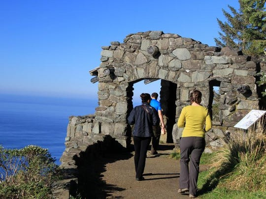The view from this stone shelter at Cape Perpetua Scenic Area near Yachats offers one of the best views on the entire Oregon Coast.