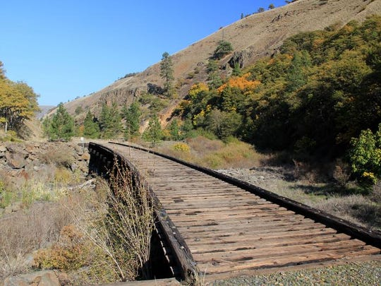 An old railroad bridge can be found on the Klickitat Trail, a rails-to-trail project in the Columbia River Gorge near the town of Lyle, Wash.