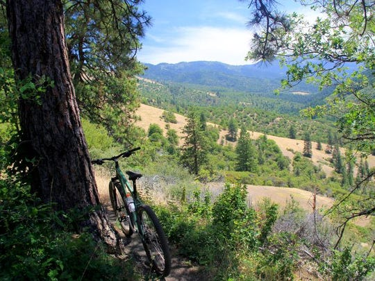 The views off the Sterling Ditch Mine Trail system, a fun mountain biking route, showcase the Applegate Valley.