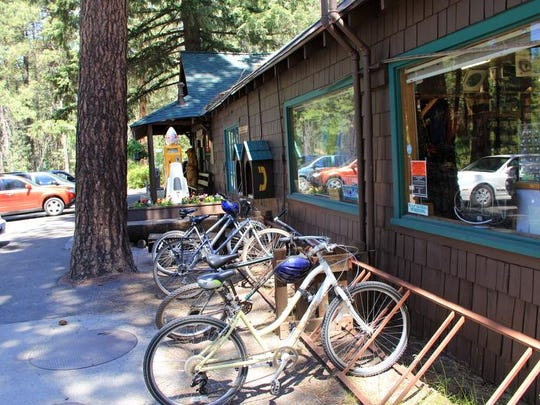 Bicycles parked at Camp Sherman Store.