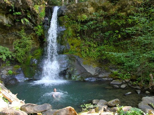 Flora Dell Falls makes an amazing swimming hole along the Rogue River Trail.