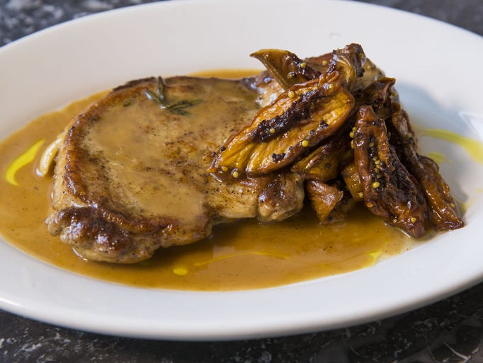 Pan seared pork chop with peach mostarda from Tratto
