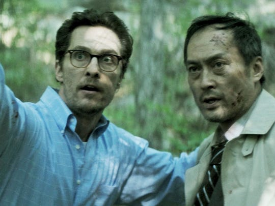 "Two would-be suicides (Matthew McCaughey and Ken Watanabe) change their mind and then discover they can't find their way out of ""The Sea of Trees"" at the base of Mt. Fuji."