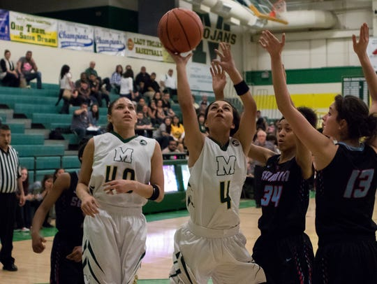 Mayfield's Alysa Garcia (4) takes it up the lane against