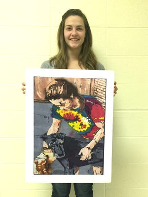 """12th Grade student Ariona Pennington.; batik, """"A Moment with Cali"""". In addition, Ariona's artwork was selected to be in the 2016-2017 Arkansas Art Traveling Show. Organized by the Arkansas Arts Center with the cooperation of the Arkansas Department of Education, the Young Arkansas Artists exhibition showcases artworks of all media created by students in kindergarten through 12th grade in Arkansas schools- both public and private. Art instructors across the state submitted 520 artworks for consideration from across Arkansas'schools or arts programs. Entry into this year's YAA exhibition was juried by a panel of art professionals who selected the top 8 works for each grade. One """"Best in Class"""" and two """"Honorable Mentions"""" awards per grade level where chosen by the juror. Since the entries are now selected by a juror, all current Arkansas Art Educators members voted and selected one artist per grade to receive a """"Teacher's Choice Award."""" The 55th Young Arkansas Artists Exhibition at the Arkansas Art Center runs May 6 through July 24."""