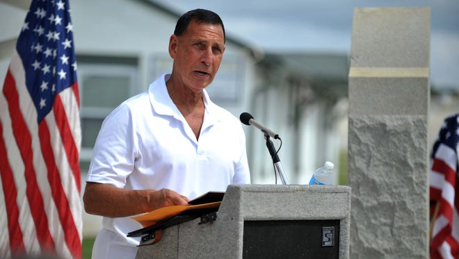 U.S. Rep. Frank LoBiondo speaks during a ceremony commemorating the 75th anniversary of the dedication of Millville Airport in August in Millville.