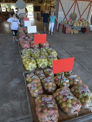 In this Aug. 23, 2018 photo, people shop for apples at Grandad's Apples in Hendersonville.